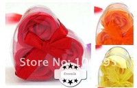 Flower Soap rose Set Wedding Party clean and whiten face Favors Gift for women's health beauty 4 boxes/lot