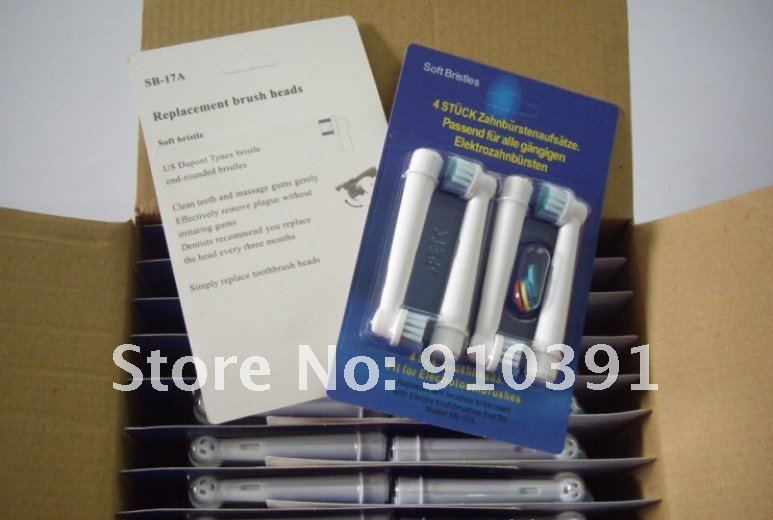 Free shipping Retail pack soft bristles EB17-4 SB-17A electric toothbrush heads, Replacement brush head,oral hygiene toothbrush