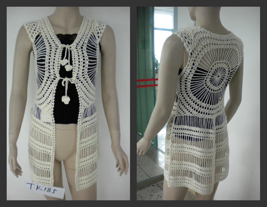 2014 fashion ladies long crochet sweater vest