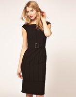 Женское платье Women Dress Sexy panelled stretch Blet Black Thinning Shourt Sleeve O-Neck Mid-Waist Dresses KM1141