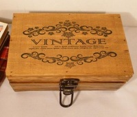 Distressed Vintage Zakka Wooden Storage Box with Lock Sundries Document Cosmetic Case Free Shipping 6758