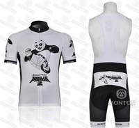 Мужская одежда для велоспорта new 2011 KUNG FU PANDA team white short sleeve cycling jersey and bib shorts Kit, bike jersey, short cycling wear