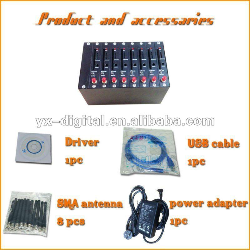 usb modem Wavecom module 8 Ports for bulk sms,mms,EDGE,free software/wireless usb gateway router modem