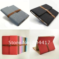 Free Shipping Leather Case Protective Cover House Shell Bag with stand  for the new iPAD 2/3, 6 color available
