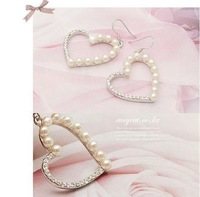 Серьги-гвоздики 3pairs/Lot Vintage Pearl Heart Rhinestone Drop Earrings Z-3025