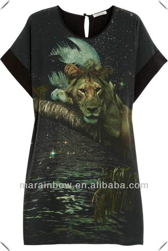 OEM custom made new fashion 3D all over sublimation printing tiger animal t-shirt