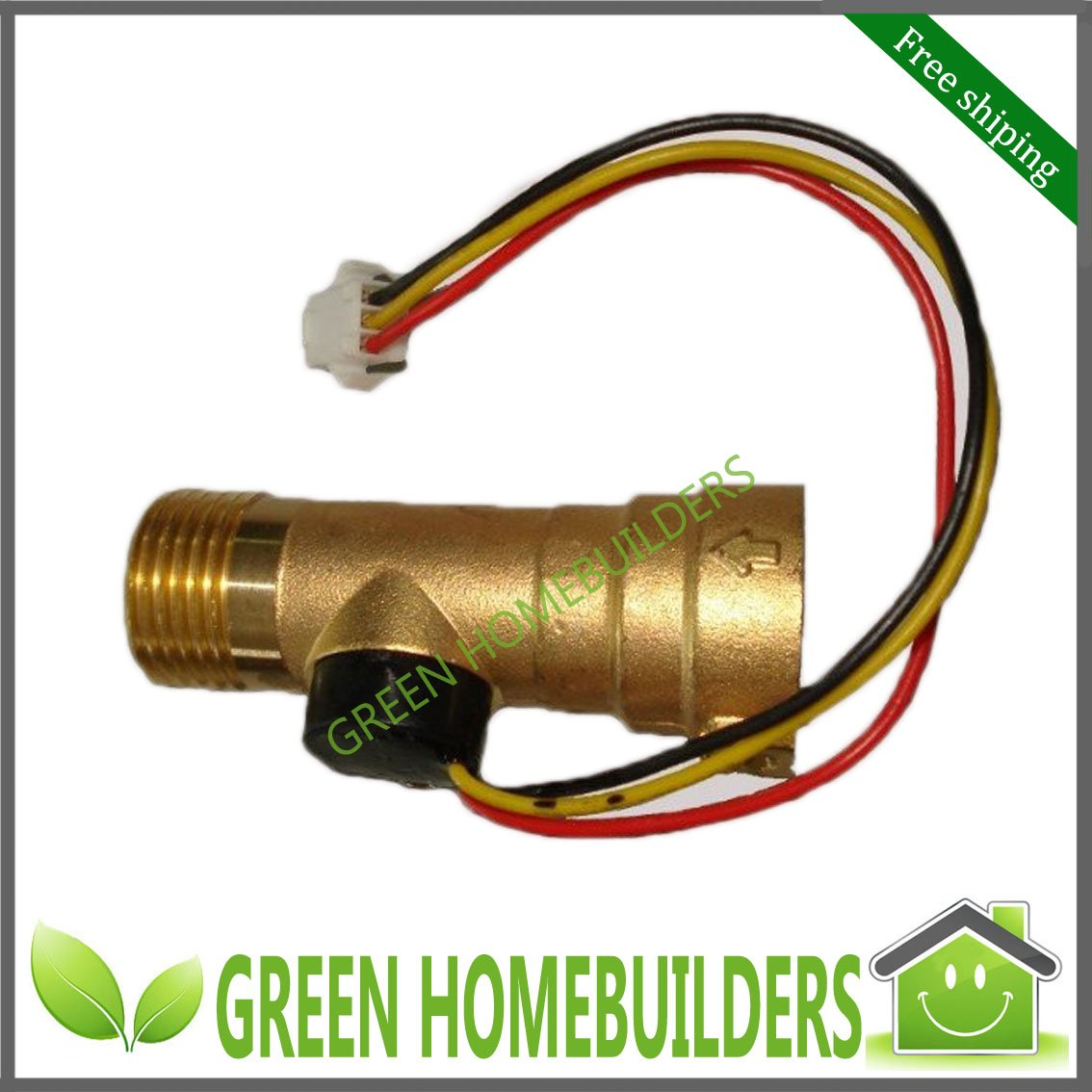 Free shipping Digital Brass Electronic flow meter / sensor ,0.1-20L/M,G1/2 female inlet and male outlet ,without extention line