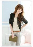 Корейская версия летние дикие короткий рукав кардиган шифон платок/небольшой жилет короткий пункт весенний жакет
