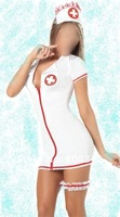 Женский эротический костюм Novelty Sexy Nurse Costume Dress Hot Cosplay Party Clubwear Women Exotic Apparel White Color MOQ 1Piece 6622