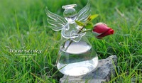 Free Shipping  vase Crystal wedding vase Hokkaido praying angel plant flowers  containers Gift