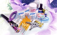 Набор для маникюра Professional Full Set Acrylic Nail Art Kit Combo Manicure UV Gel DIY Sparkle Tips Polisher/Brushes