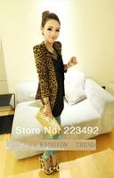 Весна осень женщин леопард куртка slim fit одна кнопка пиджак с плеча pad замшевые пиджаки размер s m l