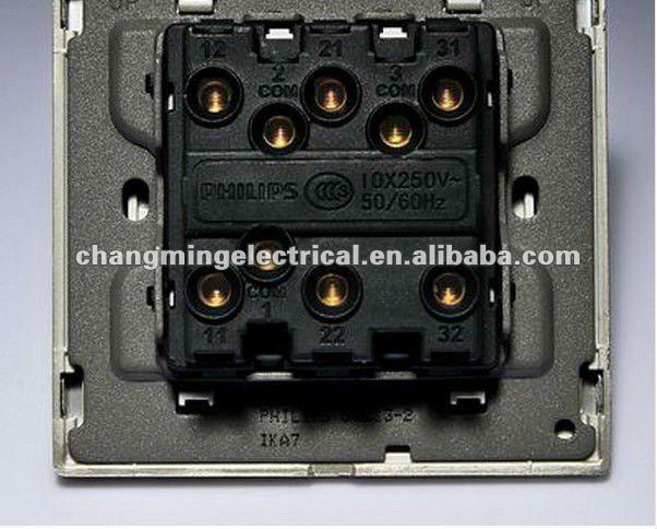 Philips Q8-213 rocker switch 3 gang 1 way switch