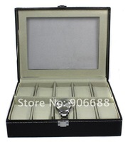 Fashion Faux Leather Watch Display Storage Watch Box Case with10 pcs pillows, Hot sale
