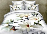 Постельные принадлежности Butterfly white flower 100 cotton Queen size bedclothes unique 4pcs oil painting bedding set 3d Duvet/quilt cover bed sheet sets