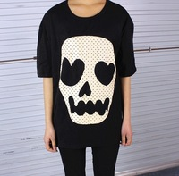 Fashion Summer New 2014 Sexy Hip Hop Casual Punk Rock Skull Shirts Tops Blouse Tee t shirt Womens Drop Ship Wholesale Hot T1-437