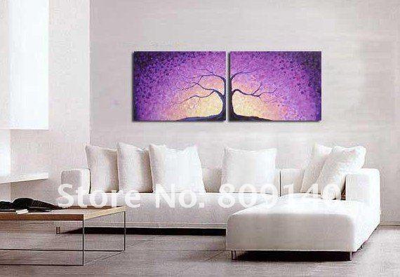 2018 Oil Painting Canvas Purple Landscape Tree Modern Beautiful ...