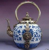 редкие азиатские Китай Серебряный чайник фарфора Тибет обезьяна чайник с драконом на нем горшок