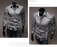 Мужская футболка 1 Piece/lot Men's Long Sleeve Tops Cotton Blended V-neck Casual T-shirts Best Price M/L/XL/XXL 650693