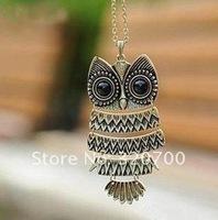 (mix order $10)  vintage retro owl pendant necklace, Cheap pendant necklaces jewerly SSCLXL1004