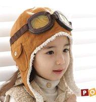 Шапка для мальчиков NEW 100% wool retail winter children's boys flight caps earflap hats