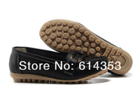 Genuine leather flat shoes round single mother shoes flat boat scoop shoe