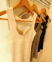 2012 summer sexy vest new unique design golden wings iron non-mark vest retail free shipping