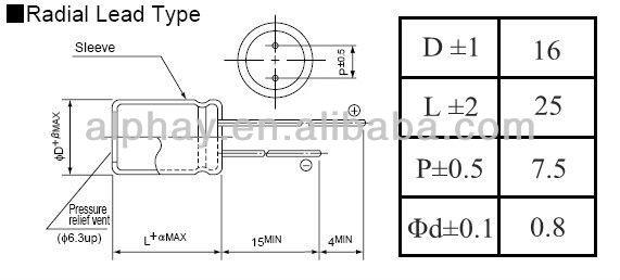1000uF 50v 16X25 20% aluminum electrolytic capacitor