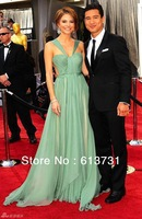 Платье знаменитостей Custom Made 2013 Sweetheart Ruched Court Train Emerald Green Evening Dresses Long 790