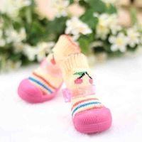 Fashionable Dog's/Pet Shoes,Pet Boots 4pcs/set Little Cat Style Quilted Stockings Boots for Dogs (4-Piece,XS-XL)-Free shipping