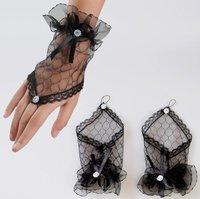 Свадебные перчатки 10 pairs Black FREE SHIP By China Post sexy fingerless short flower wedding gloves lace bridal gloves gauze wedding accessory