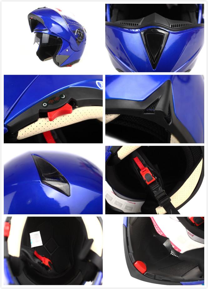 HuaDun colorful dot flip up helmet with dual visor HD-701