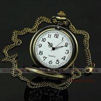 Big size High Quality Bronze Pocket Watch + Long Chain Kid gift P091
