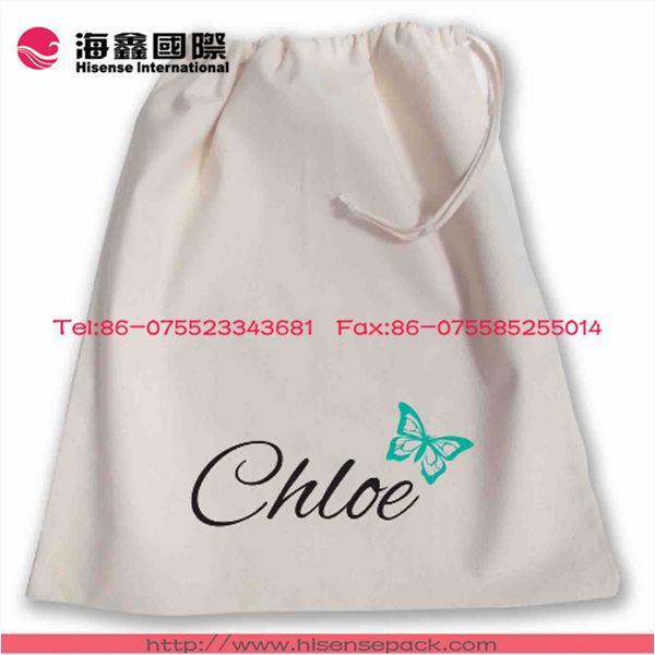 Customized printed logo drawstring cotton bag for packaging gift