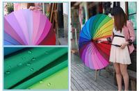 Цена завода! высокое качество fahsion длинные ручки радуги прямо зонтик дождь зонтики буквально citymoon 24k розничная