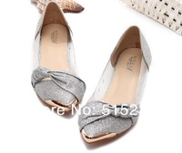 Женская обувь на плоской подошве Bowknot transparent metal point flat shoes for women's shoes
