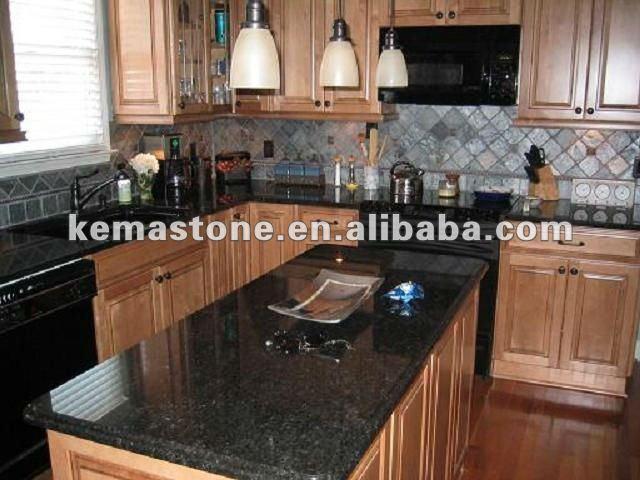 Pr fabriqu e noir perle cuisine comptoir de granit - Comptoir de cuisine noir ...