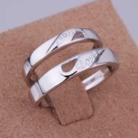 Любовь палец кольцо 18k платины покрытием любителей ювелирных изделий классические обручальные кольца мужчины женщин мода r055