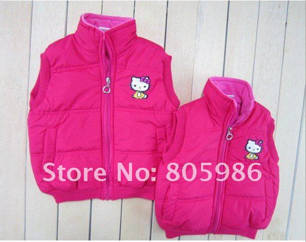 EMS free shipping, factory direct! Kitty cat thick cotton vest. (5PCS/lot), 4 colors  red