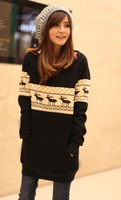Женская куртка New Arrive Korean Loose Thicken Round Neck Deer Embellish Coat