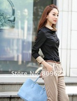 free shipping Wholesale NEW ARRIVAL fashion womens slimming bluse cotton long sleeve blouse tops 8407-Y013