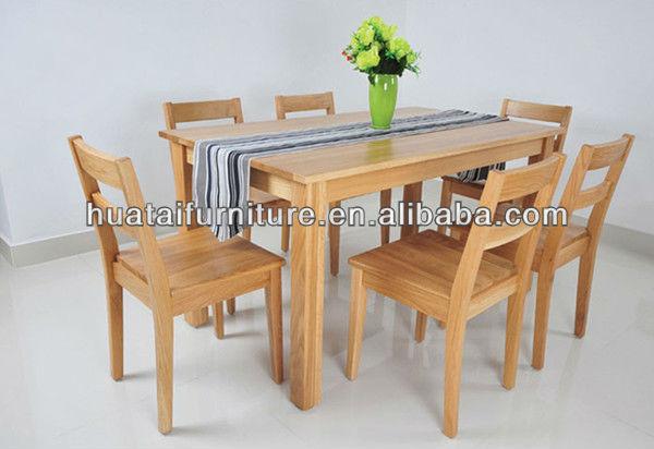 Barato conjunto de mesa de jantar em madeira maciça simples de madeira sólida