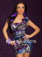 competitive price! One-shoulder Mini Dress With Feather Print Pattern free shipping 2527