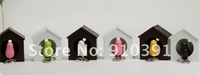 Брелок New&Hot selling plastic Little Bird House and sparrow whistle key chain keyfob, family key holder, drop ship and for