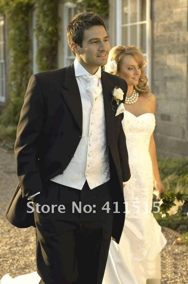 Classic Black Hot White Jacket High-Quality Groom Tuxedos Suits For Wedding Evening Formal Men Suit 