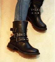 Fashion Spring & Autumn Women Motorcycle Punk Martin Leather Boots Vintage Cool Black & Brown Lady Shoes Free Shipping WS8801