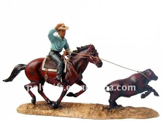 Resin statue western cowboy