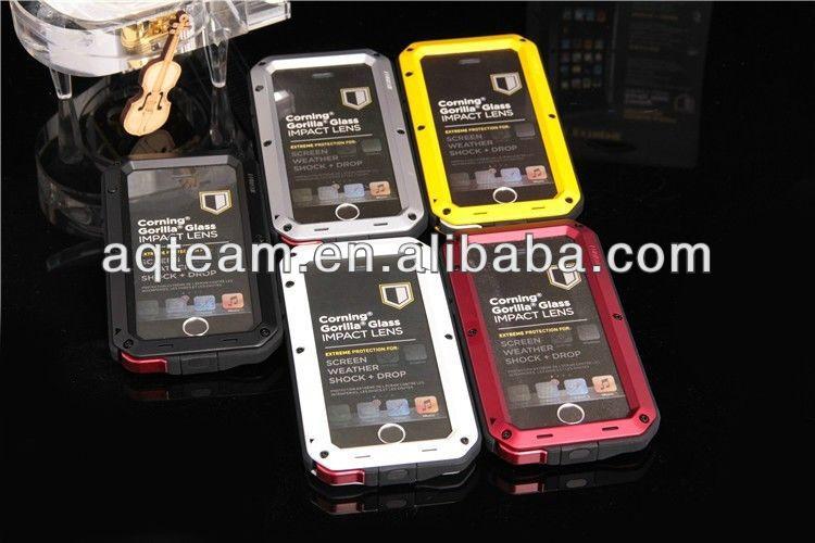 Metal Aluminum Shockproof Gorilla Glass Waterproof Case for IPhone 5 Case , for iphone 5 Waterproof Case
