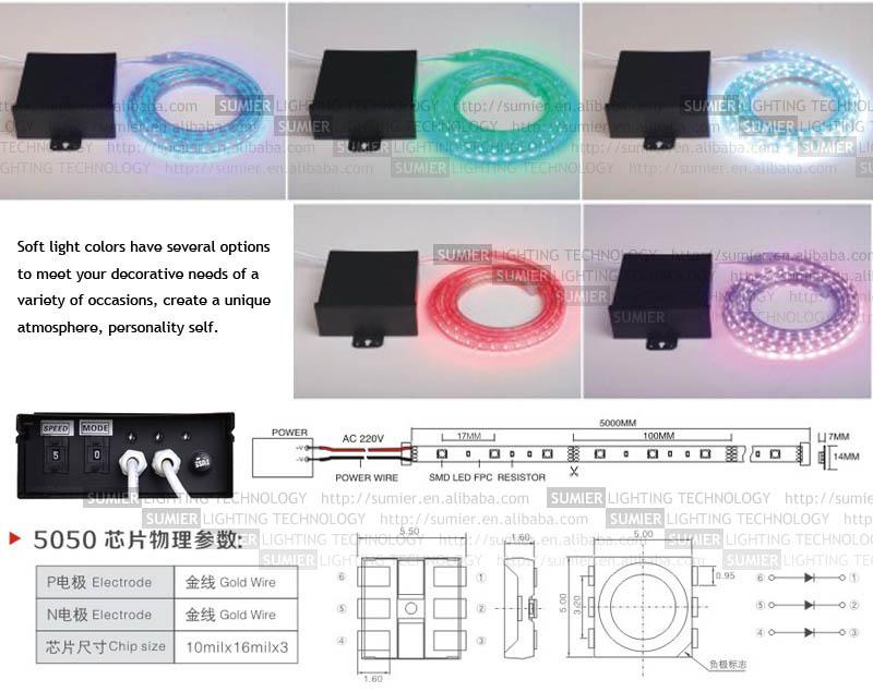220V multicolor led light strip from zhongshan