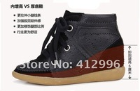Женские ботинки Drop Shipping /Isabel Marant Genuine Leather White+Black Boots Height Increasing Sneakers Women Shoes